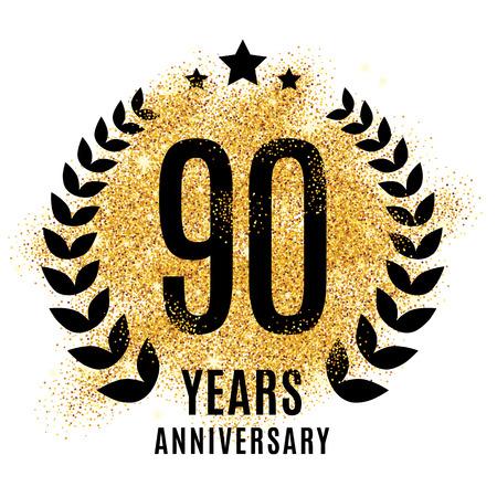 ninety: Ninety years golden anniversary sign. Illustration