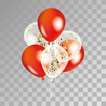 El oro y el globo transparente sobre fondo rojo. globos de fiesta para el diseño de eventos. Globos aislados en el aire. decoraciones de la fiesta de cumpleaños, aniversario, celebración. Shine globo transparente.
