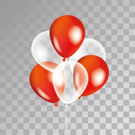 Red and white balloon on background. Party balloons for event design. Transparent balloons isolated in the air. Party decorations for birthday, anniversary, celebration. Shine transparent balloon. Иллюстрация
