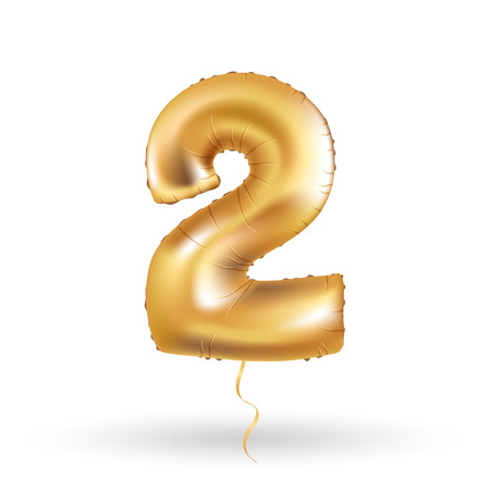 metallic: Golden number two 2 metallic balloon. Party decoration golden balloons. Anniversary sign for happy holiday, celebration, birthday, carnival, new year. Metallic design balloon.