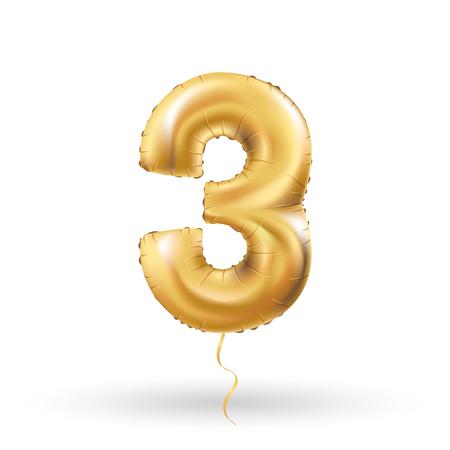 third birthday: Golden number three 3 metallic balloon. Party decoration golden balloons. Anniversary sign for happy holiday, celebration, birthday, carnival, new year. Metallic design balloon.