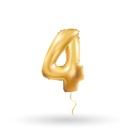Golden 4 number four metallic balloon. Party decoration golden balloons. Anniversary sign for happy holiday, celebration, birthday, carnival, new year. Metallic design balloon.