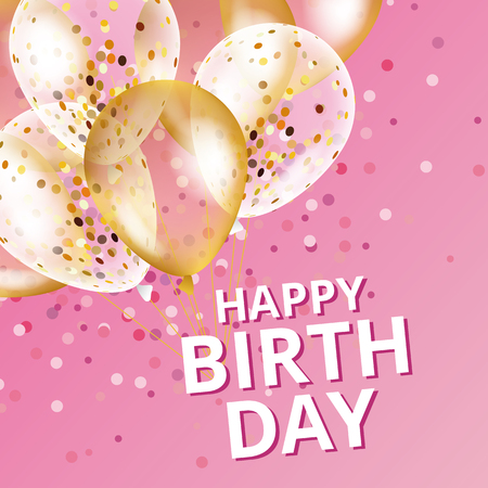 Balloons happy birthday. Gold pink balloons background Happy Birthday.