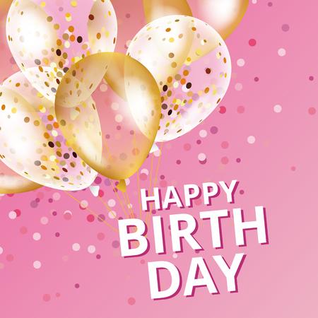 Balloons happy birthday. Gold pink balloons background Happy Birthday.