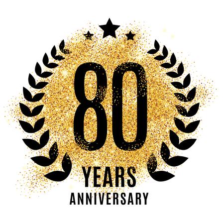 80th: Eighty years gold anniversary symbol. 20th twenties.