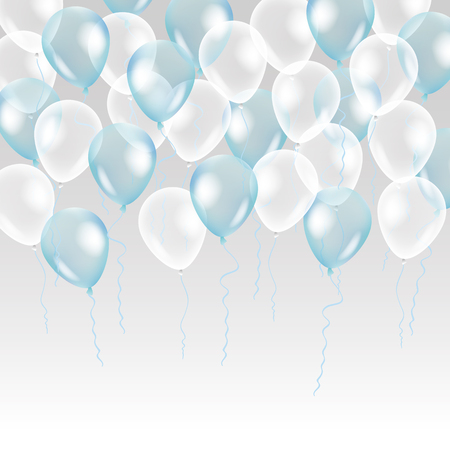 blue party: Blue transparent balloon on background. Frosted party balloons for event design. Balloons isolated in the air. Party decorations for birthday, anniversary, celebration. Shine transparent balloon.