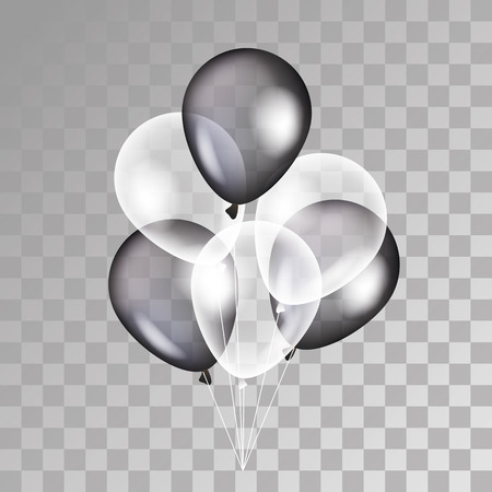 Black and white balloon on background. Party balloons for event design. Transparent balloons isolated in the air. Party decorations for birthday, anniversary, celebration. Shine transparent balloon.