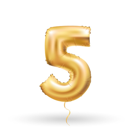 Golden number 5 five metallic balloon. Party decoration golden balloons. Anniversary sign for happy holiday, celebration, birthday, carnival, new year. Metallic design balloon.