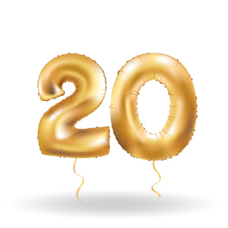 Golden number 20 twenty metallic balloon. Party decoration golden balloons. Anniversary sign for happy holiday, celebration, birthday, carnival, new year. Metallic design balloon.