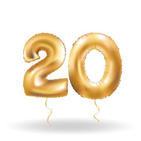 Golden number 20 twenty metallic balloon. Party decoration golden balloons. Anniversary sign for happy holiday, celebration, birthday, carnival, new year. Metallic design balloon.