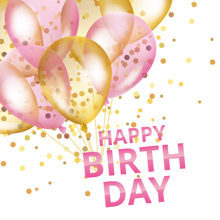 pink balloons: Balloons happy birthday. Gold and pink balloons background Happy Birthday. Illustration