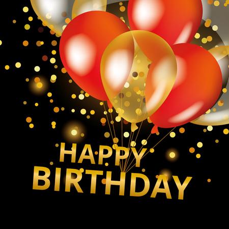 tortas de cumpleaños: Globos del feliz cumpleaños en negro. Oro y globos de color rojo de fondo feliz cumpleaños.