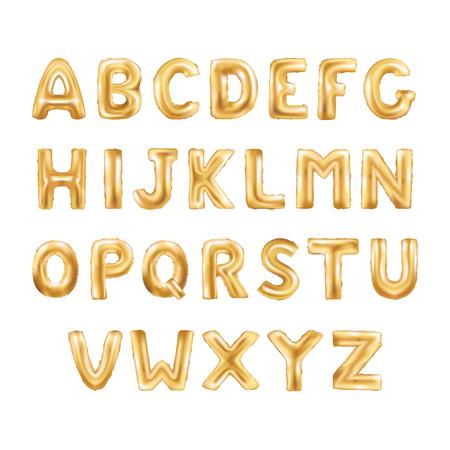 Globos metálicos de oro, de oro ABC carta alphabeth. Globos de oro tipo de texto, Carta, año nuevo, día de fiesta, cumpleaños, celebración. la fuente brillante de oro brillante en el aire.