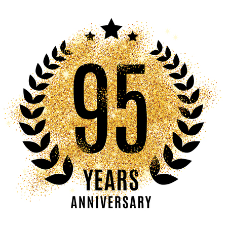 ninety five years golden 95 anniversary sign. Gold glitter celebration. Light bright symbol for event, invitation, award, ceremony, greeting. Laurel and star emblem, luxury elegant icon.