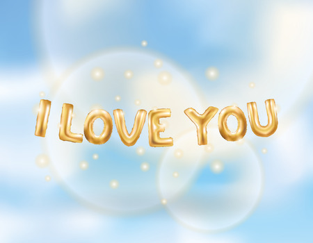 I love you gold balloons Illustration