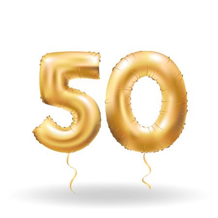 number fifty metallic balloon Vettoriali