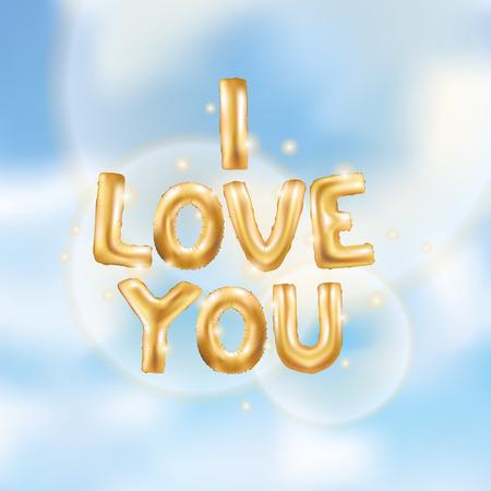 I love you gold balloons Фото со стока