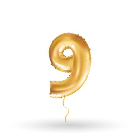 Golden nummer negen 9 metallic ballon. decoratie partij gouden ballonnen. Anniversary teken voor gelukkige vakantie, viering, verjaardag, carnaval, nieuw jaar. Metallic ontwerp ballon.