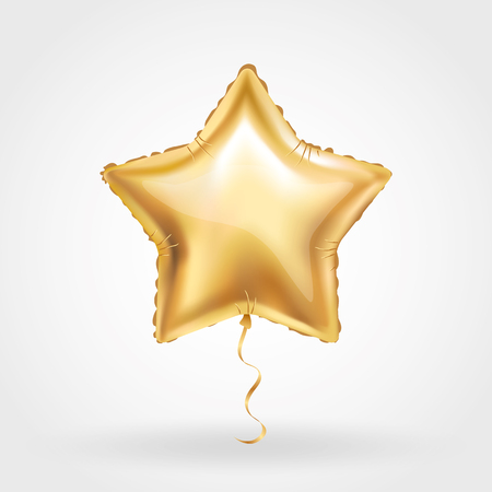 Gold star balloon on background Illustration