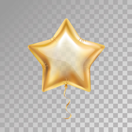 Gold star balloon on transparent background. Party balloons event design decoration. Balloons isolated air. Party decorations wedding, birthday, celebration, anniversary, award. Golden balloon, 23 february
