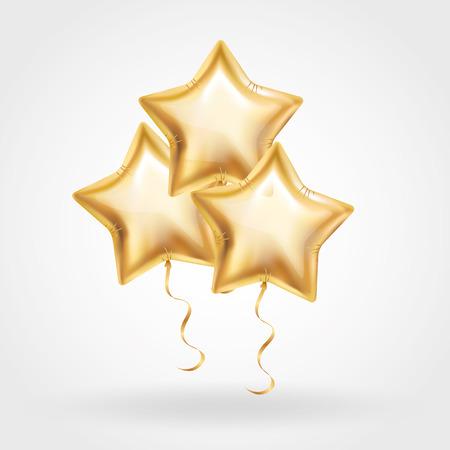 3 Drie Gouden ster ballon op de achtergrond. Party ballonnen event design decoratie. Ballonnen geïsoleerd in de lucht. Party decoraties bruiloft, verjaardag, viering, verjaardag, award. Shine Golden ballon