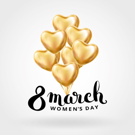 Heart Gold balloon 8 march womens day. Frosted party balloons event design. Balloons isolated in the air. Party decorations for , celebration, love. Shine metallic golden balloon. Eight march day Illustration