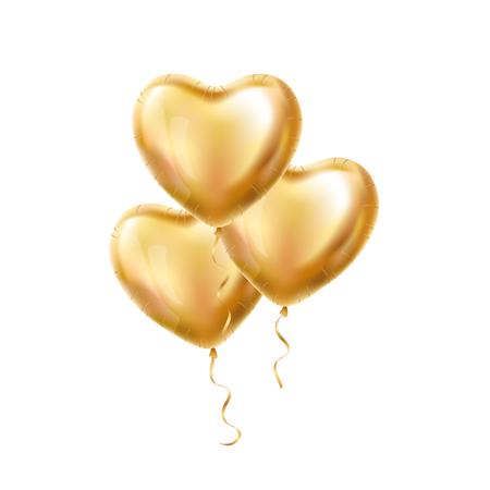 Heart Gold ballon op de achtergrond. Matte partij ballonnen event design. Ballons die in de lucht. Partij decoratie voor bruiloft, verjaardag, viering, liefde, valentijnskaarten. Shine doorzichtige ballon Stockfoto - 72128548