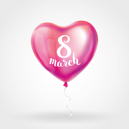 event party: Heart pink balloon 8 march womens day. Frosted party balloons event design. Balloons isolated in the air. Party decorations for , celebration, love. Shine metallic red balloon. Eight march day Illustration