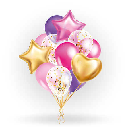 Herz Stern Gold Ballon Bouquet. Frosted Party Ballons Event Design. Luftballons in der Luft isoliert. Party Dekorationen für Hochzeit, Geburtstag, Feier, Liebe, Valentinstag, Kinder. Farbe transparenter Ballon Standard-Bild - 72632091