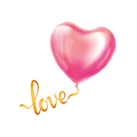 골드 편지 쓰기 빨간 하트 풍선을 사랑 해요. 황금 반짝 배경입니다. 행복한 발렌타인 데이. 사랑해. 인사말 카드, 기호, 배너, 초대 골드 배경입니다.