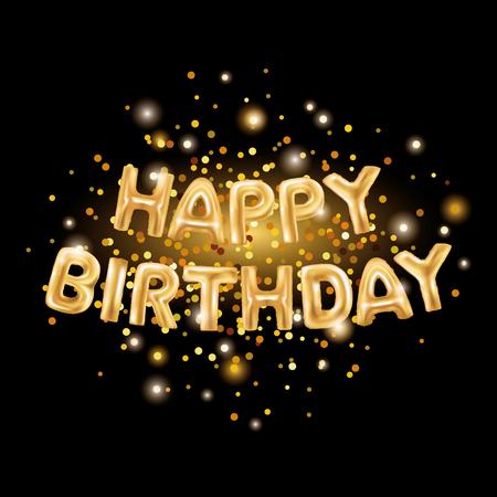 Globos de oro feliz cumpleaños en negro. El globo de oro chispea fondo del día de fiesta. Feliz cumpleaños a usted logotipo, tarjeta, bandera, tela, diseño. Día del nacimiento y tarjeta del Año Nuevo. Globo de oro sobre fondo oscuro Foto de archivo - 72785781