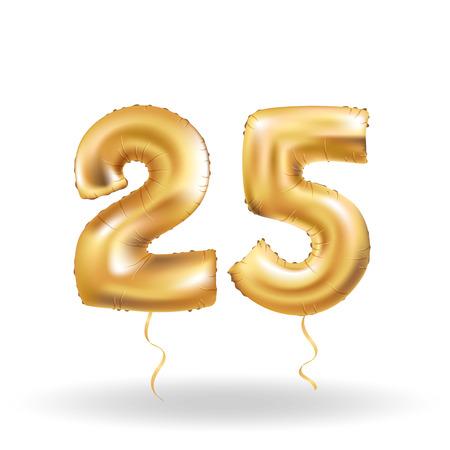 twenty fifth: Golden number 25 twenty five metallic balloon. Party decoration golden balloons. Anniversary sign for happy holiday, celebration, birthday, carnival, new year. Metallic design balloon.