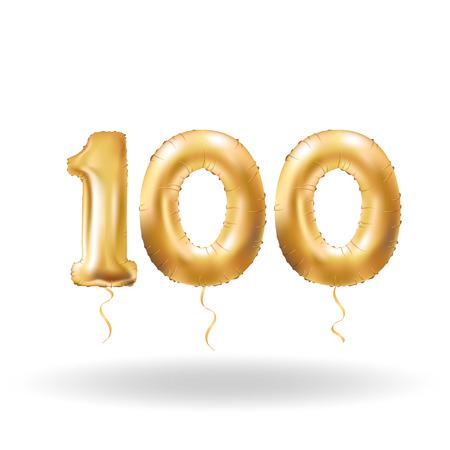 黄金数百メタリックバルーン。ゴールデン パーティーの装飾風船。幸せな休日、お祝い、誕生日、カーニバル、新年の記念標識です。金属製のデザ