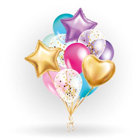Coeur étoile ballon d'or Bouquet. ballons de fête givrées conception d'événements. Ballons isolé dans l'air. décorations de fêtes pour le mariage, anniversaire, célébration, amour, valentines, enfants. Couleur ballon transparent Banque d'images - 72785786