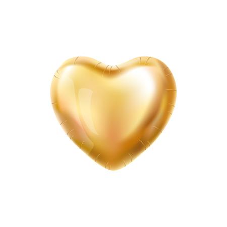 Heart Gold ballon op de achtergrond. Matte partij ballonnen event design. Ballons die in de lucht. Partij decoratie voor bruiloft, verjaardag, viering, liefde, valentijnskaarten. Shine doorzichtige ballon