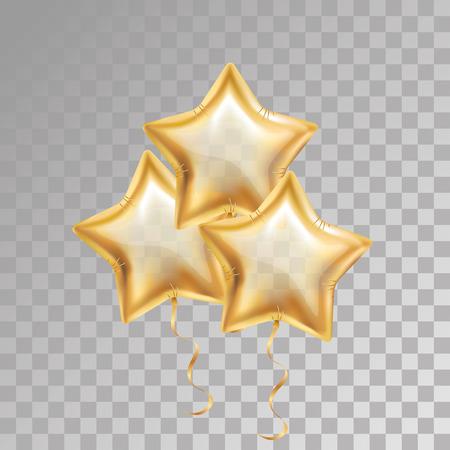 3, trois, ballon étoile d'or sur fond transparent. Décoration de décoration d'événements pour ballons de fête. Ballons d'air, 23 février. Décorations de fêtes mariage, anniversaire, fête anniversaire, prix. Ballon d'or