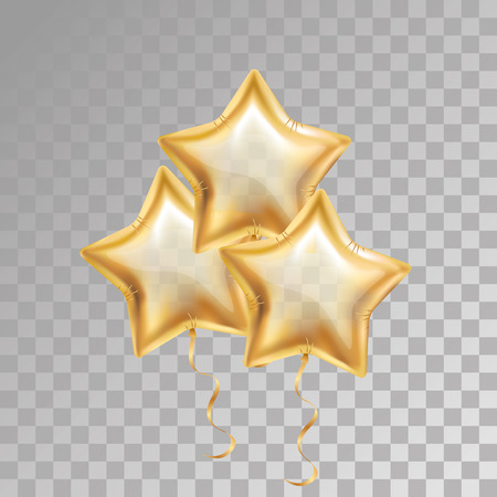 3, three, Gold star balloon on transparent background. Party balloons event design decoration. Balloons air, 23 february. Party decorations wedding, birthday, celebration anniversary, award. Golden balloon Illustration