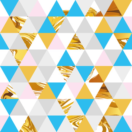 web backdrop: Geometric blue gold marble seamless pattern background. Color abstract texture for flyer, poster, marketing, card, banner, web header. Sale, advertising, pack. Colorful backdrop shopping marketing Illustration