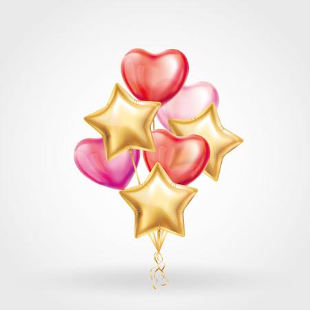 Heart Gold star balloon on background