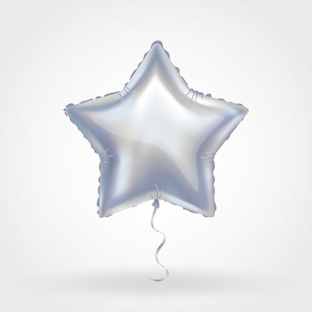 Silver star balloon on background