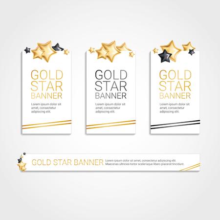 Gold Black banner star background