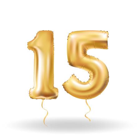 number fifteen metallic balloon
