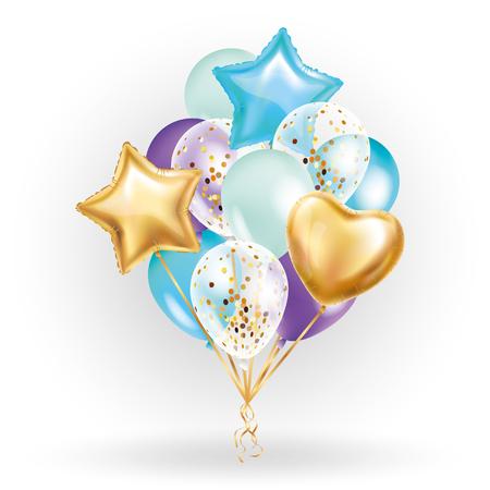 Bouquet di palloncini dorati a forma di cuore