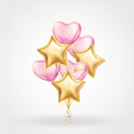 Heart Gold star balloon on background