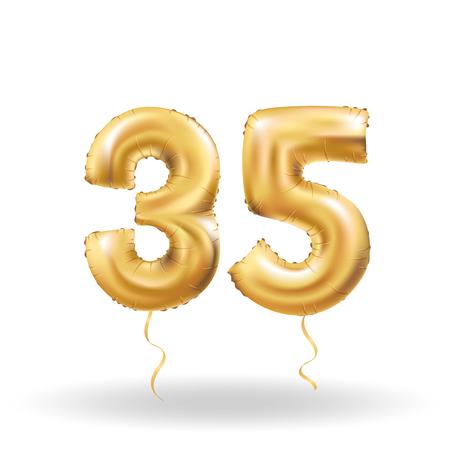 number thirty five metallic balloon
