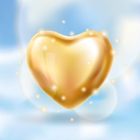 Heart Gold balloon on background
