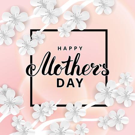 Jour de mères heureux fleur sakura Banque d'images - 75070187