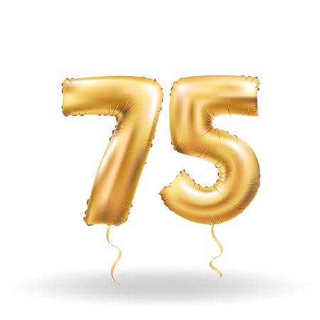 number seventy five metallic balloon Illustration
