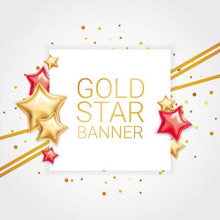 Gold red banner star background Ilustrace