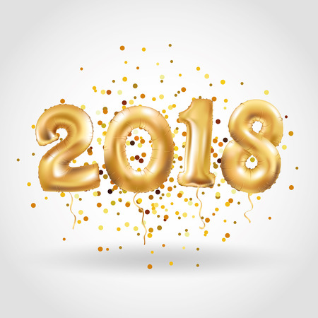 Happy new year Metallic Gold Balloons Stock Photo